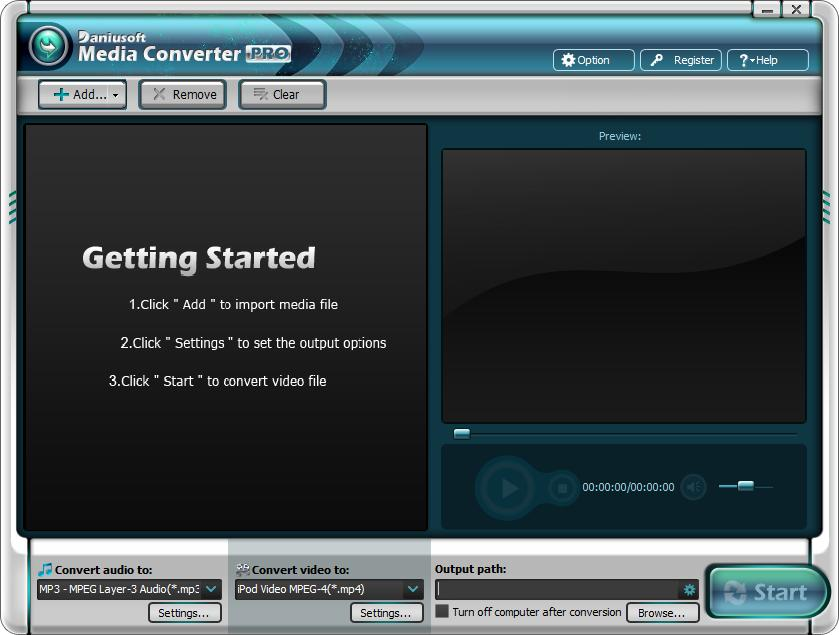Daniusoft Media Converter Pro interface